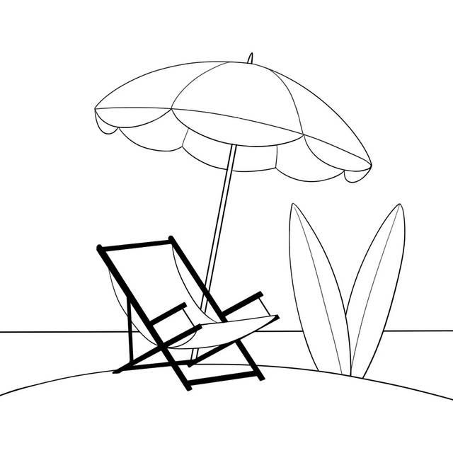 树下 小圈子 生男生女谈 简笔画:在这最舒服的季节,画一幅沙滩度假画